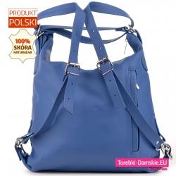 Błękitny plecak damski ze skóry