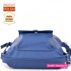Skórzana błękitna torebka damska od spodu