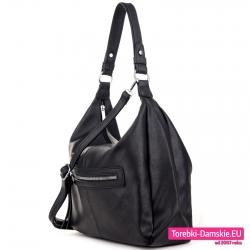 Czarna torebka worek na ramię i do przewieszenia