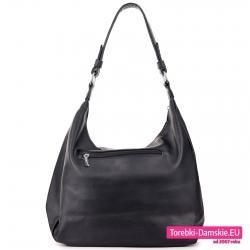Modna czarna torebka na ramię z kieszenią z tyłu zamykaną zamkiem błyskawicznym
