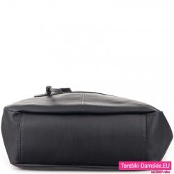 Miejska czarna torebka damska z płaskim dnem