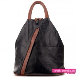 Czarny plecak damski z brązem
