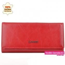 Skórzany czerwony portfel damski duży 18,5 cm
