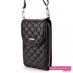 Czarna pikowana torebka na telefon
