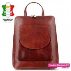 Skórzany brązowy plecak damski odcień kasztanowy
