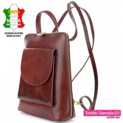 Brązowy plecak średniej wielkości w kolorze kasztanowym