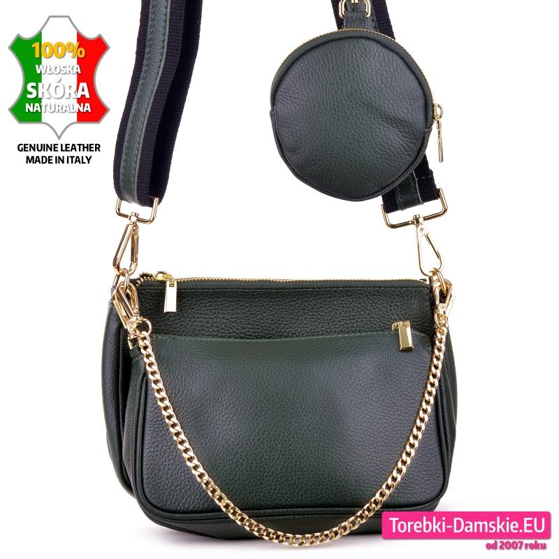 Zestaw dwie zielone skórzane torebki i portmonetka oraz złoty łańcuszek