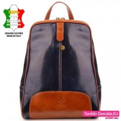Granatowo - brązowy plecak damski ze skóry