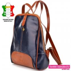 Skórzany granatowy plecak z brązowymi wstawkami