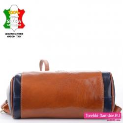 Skórzany damski granatowo-brązowy plecak z podwójnie wzmocnionym dnem