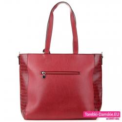 Duża torba w ciemnym odcieniu czerwonego z kieszenią z tyłu
