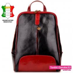 Czarno - czerwony skórzany plecak damski