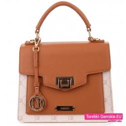 Beżowo - brązowa torebka - elegancki markowy kuferek do ręki i do przewieszenia