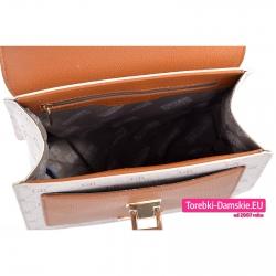 Beżowy kuferek z podszewką materiałową