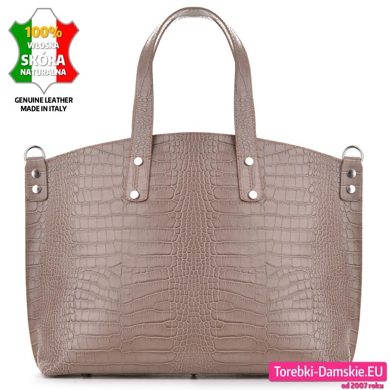 Beżowa torba A4 ze skóry aligatora