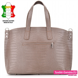Miejska skórzana beżowa torba damska na laptopa lub segregator