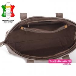Duża torba z 5 kieszeniami wewnątrz ze skóry naturalnej