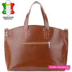 Miejska pojemna torebka damska w kolorze brązowym ze skóry z kieszenią zewnętrzną