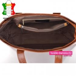 Bardzo pojemna skórzana torebka z dużą ilością kieszeni wewnątrz