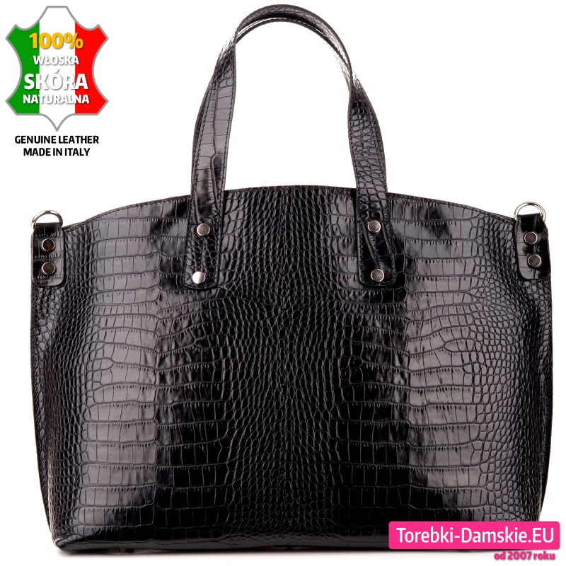 Czarna duża torba A4 teczka damska na laptopa lub dokumenty