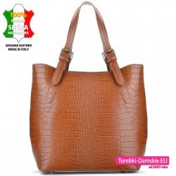 Skórzana torba w kolorze brązowym karmelowym