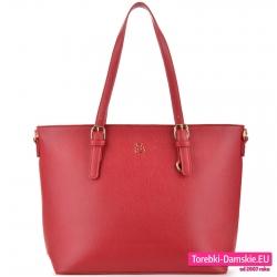 Czerwona torebka na ramię mieszcząca A4