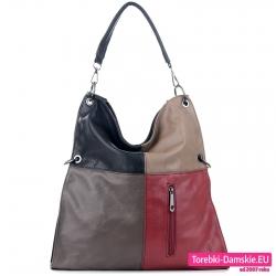 Duża szaro - czarno - beżowo - bordowa torba na ramię