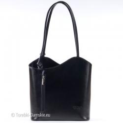 Czarna torebka włoska ze skóry z funkcją plecaka