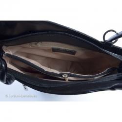 Włoska czarna skórzana torebka z przegrodą