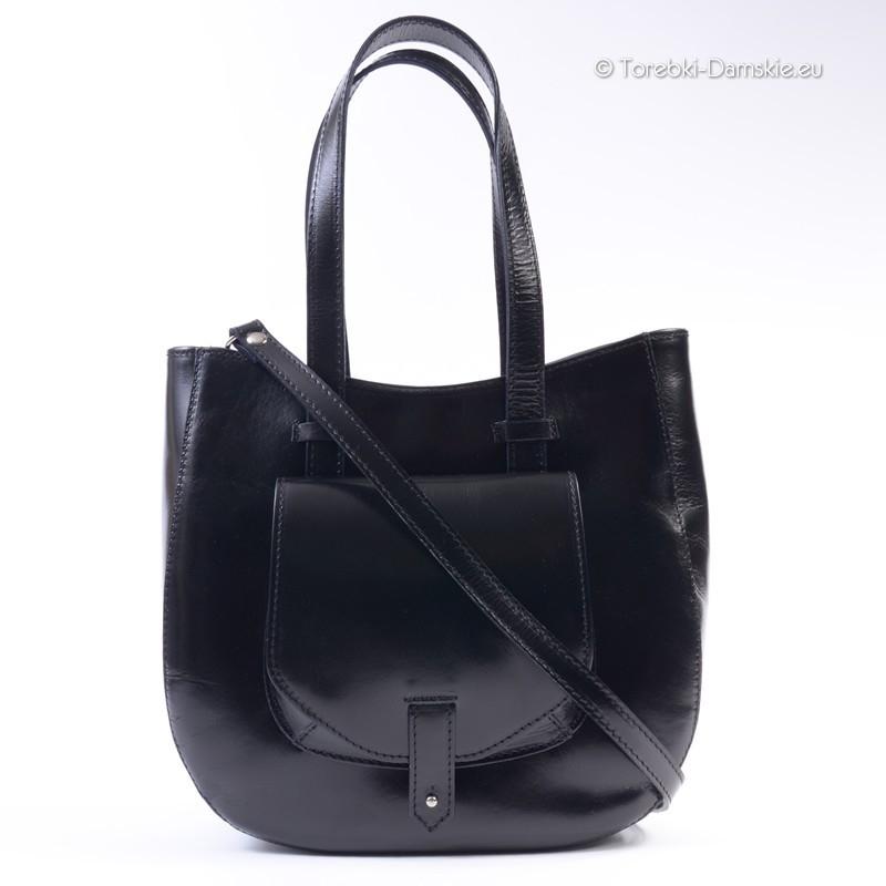 4dfa96afed287 Duża torba włoska w kolorze czarnym z kieszonką z przodu