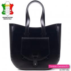 Włoska czarna skórzana duża torba z kieszonką z klapą z przodu mieści A4