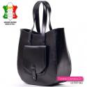 Czarna torba skórzana - kieszonka z przodu, produkt włoski