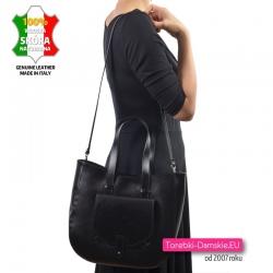 Pojemna i lekka torba z czarnej gładkiej skóry