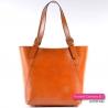 Włoska jasnobrązowa elegancka skórzana karmelowa torba