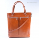 Duża kwadratowa skórzana damska torba jasnobrazowa - teczka