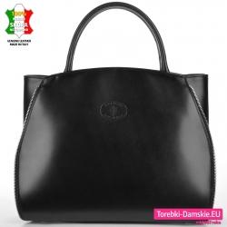 Włoska elegancka torba w kolorze czarnym - mieści A4