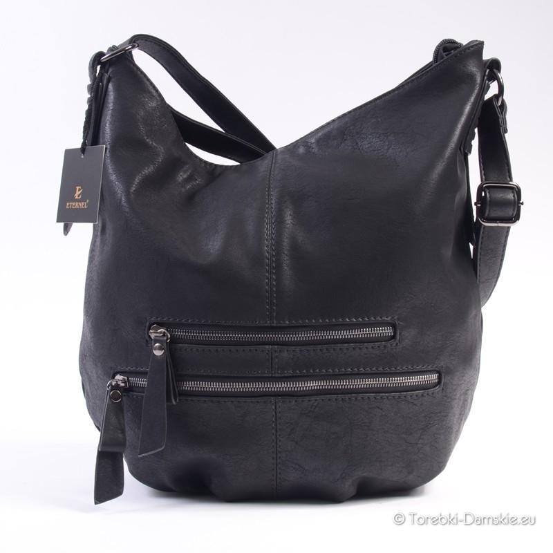 6cbb3d98ecc42 Nowy Czarny worek - torba na długim pasku z regulacją. Dwa zamki z przodu