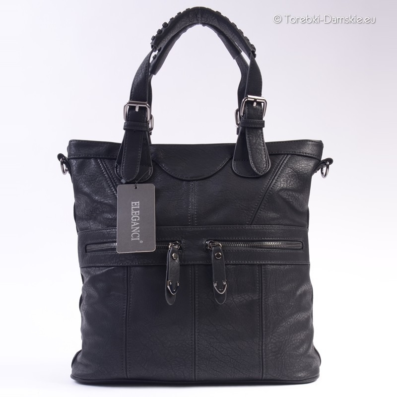 9923a4ba5c7b1 Miejska torba w kolorze czarnym A4 - dwie kieszenie z przodu na zamek