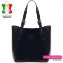 Czarna damska elegancka skórzana włoska torba