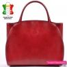 Duża czerwona skórzana torba damska - teczka A4