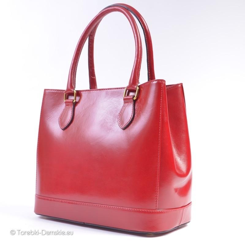 6e5b171260139 ... Czerwona torba skórzana damska - kuferek ...