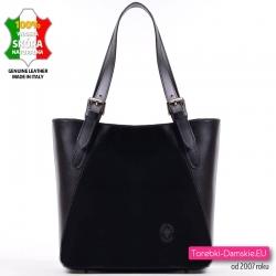 Czarna torba w klasycznym fasonie ze skóry naturalnej