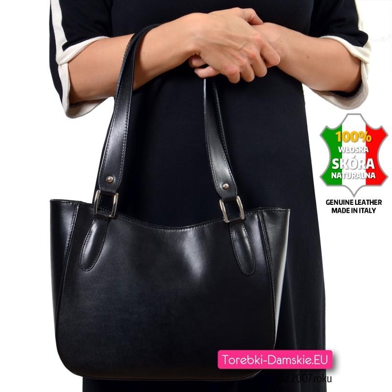 Klasyczna włoska skórzana torebka damska na ramię LORETO
