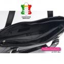 Średniej wielkości czarna torebka skórzana wizytowa na dwóch paskach
