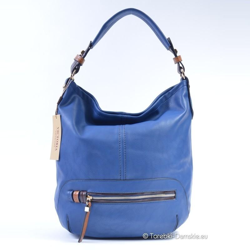 d07bf117fd6c4 Pojemna torebka - worek w kolorze niebieskim blue dżins - mieści A4