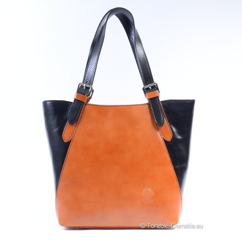 b9dee32d4d060 Włoska torba dwukolorwa ze skóry brązowo - czarna A4
