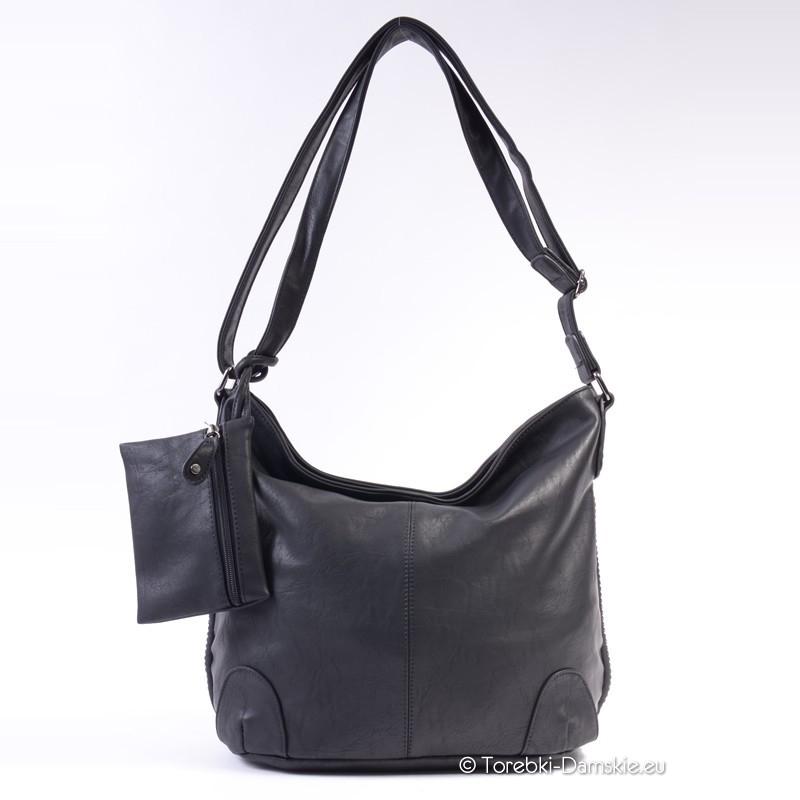 2caae123844f2 Czarna duża torba damska na długim pasku - worek listonoszka ...