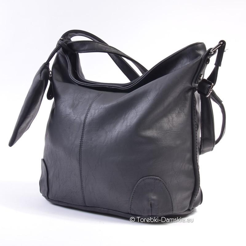 0d717cfbde637 Czarna duża torba damska na długim pasku - worek listonoszka ...