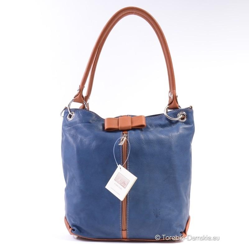 Torba niebiesko-brązowa - kolor niebieski dżins