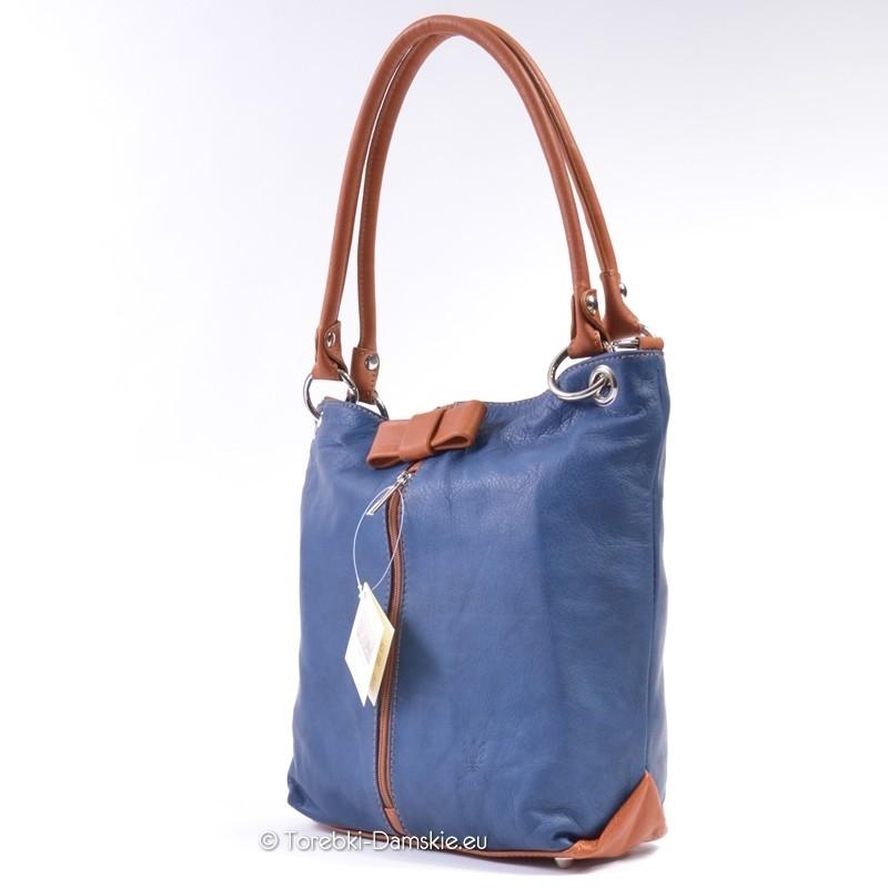 Skórzana torebka niebiesko brązowa. Jasny odcień brązu Camel, odpinane rączki